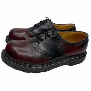 GRIPFAST Oxford Chunky Shoes Red & Black Leather